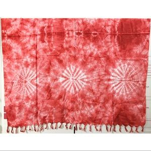 RED TIE-DYED SCARF W/ RED TASSELS
